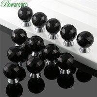 Bowarepro Siyah Elmas kristal cam küre topuzu kolu mobilya parçaları donanım mutfak kolları aksesuarları 30mm 12 + 36 Adet Vidalar|knob handle|kitchen handleshandle furniture -