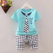 Summer children suits kids five Stars Necktie pattern clothing sets boys girls shcool words t-shirt+striped pants(China)