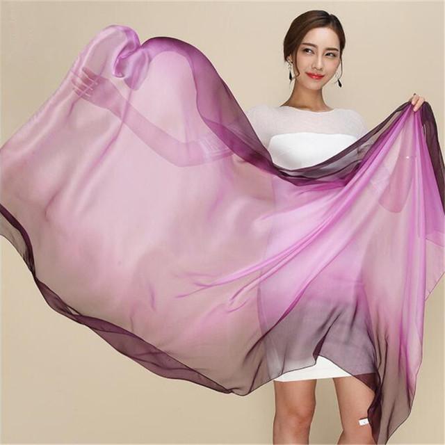 Cachecol de inverno 2016 mulheres de moda de nova cor Gradiente de seda Real graça Protetor Solar Multi-função bandana hijab xale de seda cavalo cachecol