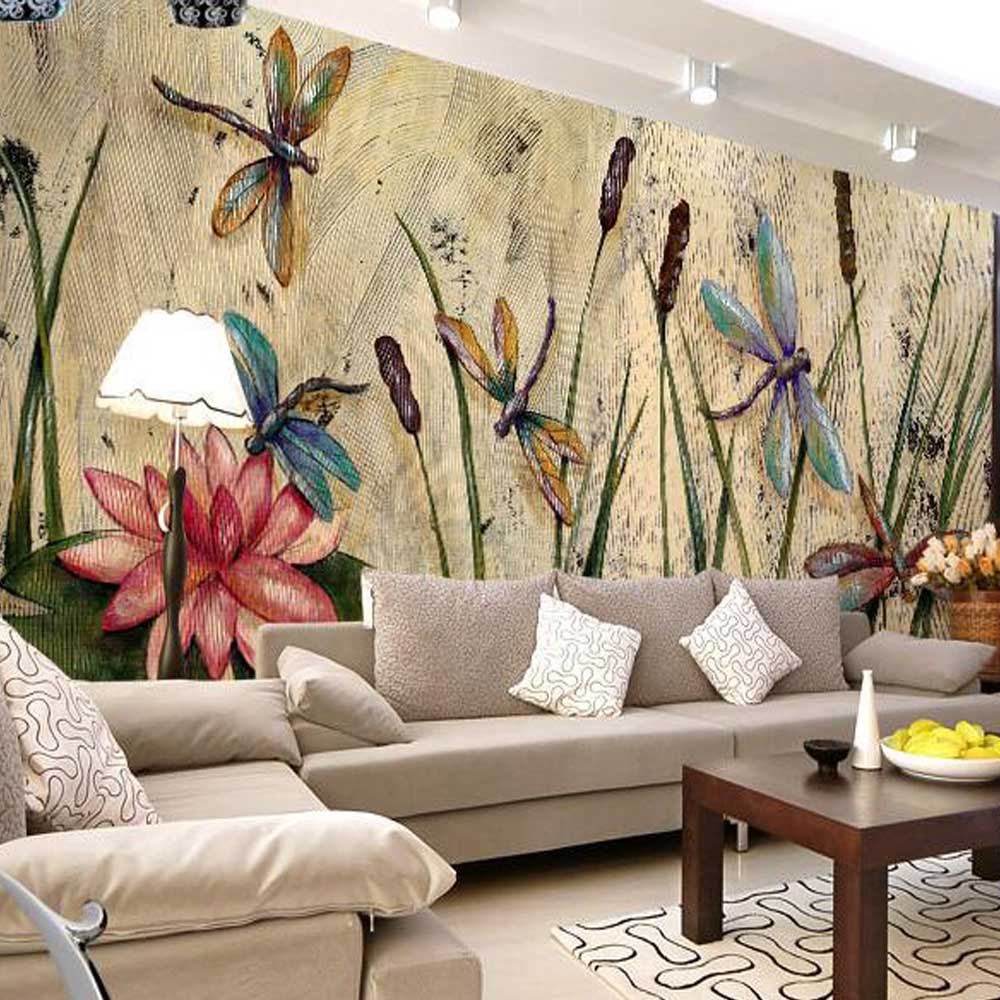 personalized dragonfly lotus mural wallpapers eurpoean. Black Bedroom Furniture Sets. Home Design Ideas