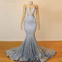 Блестящие Серебряные платья русалки для выпускного вечера прозрачные