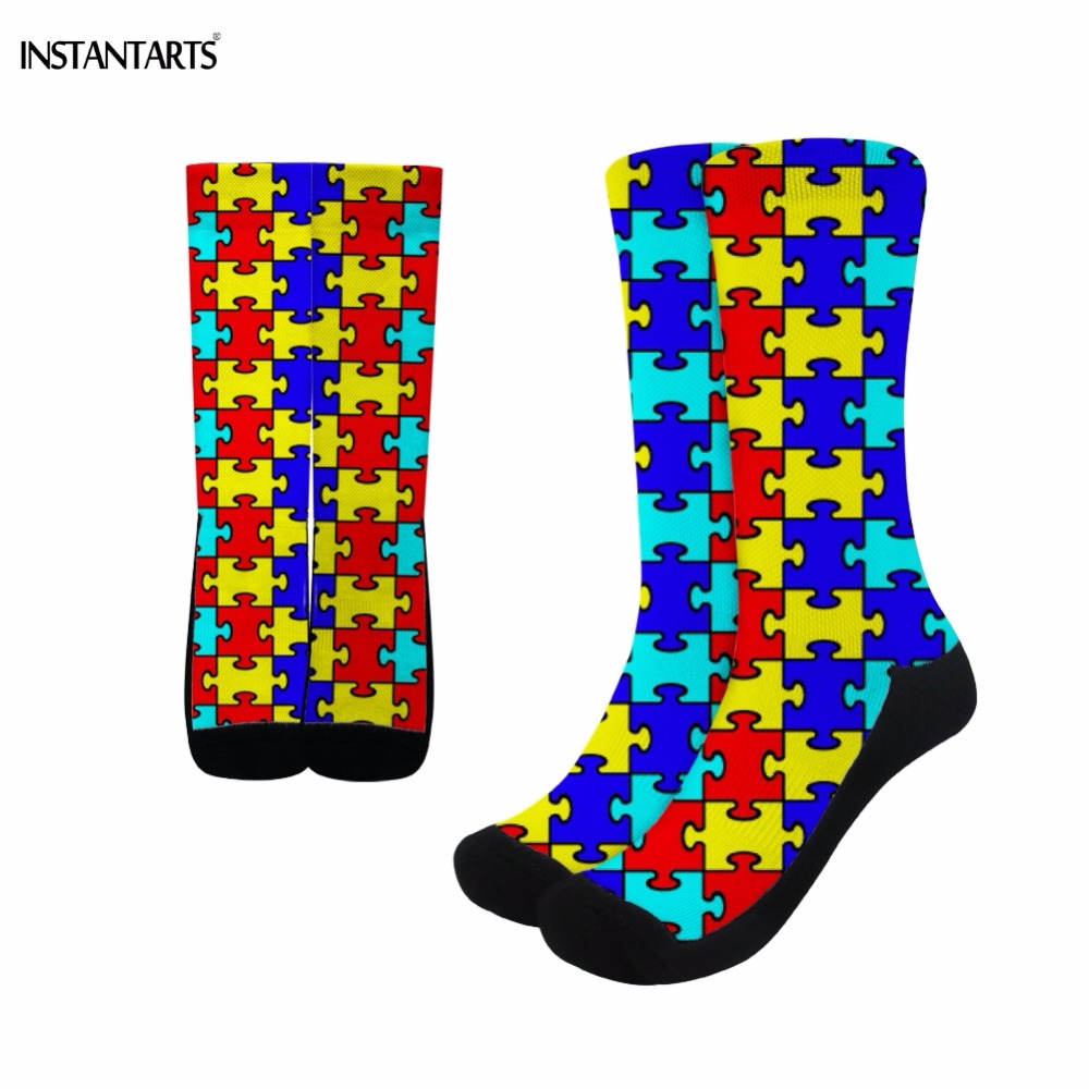 INSTANTARTS 2019 Women Men Cycling Socks Bright Color Autism Awareness Pattern Sports Socks High Knee Athletic Running Bike Sock