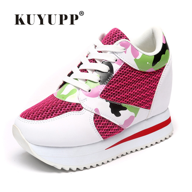 KUYUPP 2017 Fashion 4cm Hide Heels Women Casual Shoes New Breathable Mesh Flat Platform Women Shoes High Top Wedges Shoes YD108