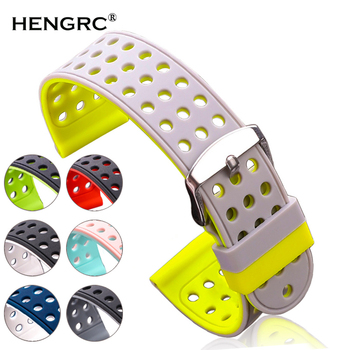 Silicone Rubber Watchbands 18mm 20mm 22mm 24mm Women Men Fashion Two-tone Breathable Strap Watch Band Clock Accessories