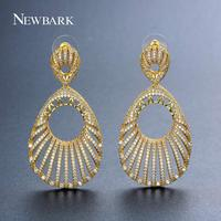 NEWBARK Shiny Earing Hollow Unique Design Gold Color Long Earrings For Women Noble Queen Decoration Fashion Jewelry Anniversary