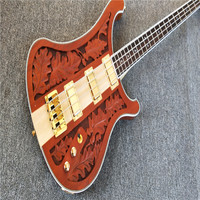 SOLID WALNUT BODY Top Quality 4 Strings Neck Thru Bass Guitar KPOLE Lmy Klmster Lmted Edton
