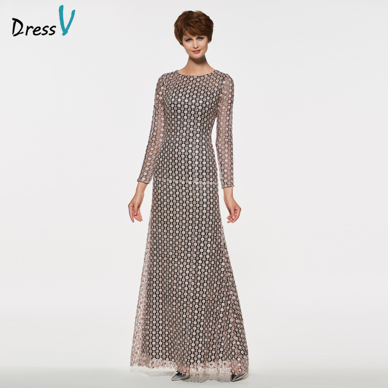 Dressv Elegant Scoop Neck Sheath Long Sleeves Mother Of Bride Dress Lace Zipper Up Long Mother Evening Gown Customize