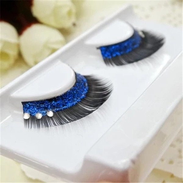 1Pair Blue Sequins Crystal Thick Decorated False Eyelashes Individual Charm Beauty Stage Long Lashes Perfect for Latin Dancers