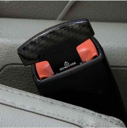 1Pcs ความปลอดภัยหัวเข็มขัดคาร์บอนไฟเบอร์รถยนต์ที่นั่งความปลอดภัยเข็มขัดเข็มขัดนิรภัยเข็มขัดนิรภัย Stopper รถอุปกรณ์เสริม