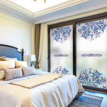 Free Customized Stained Static Cling Window Film Frosted Privacy Glass Sticker Home Decor Digital print BLT1131 Blue and white