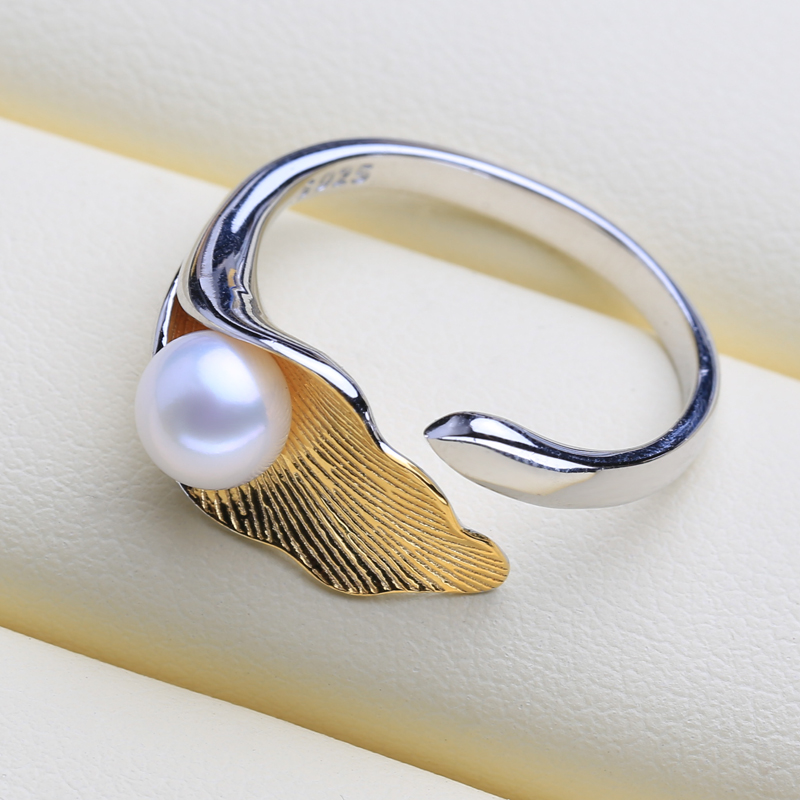 FENASY 925 Sterling Silver Ring Natural Freshwater Pearl Rings For Women Silver and Gold Color Custom Female Ring Fine Jewelry