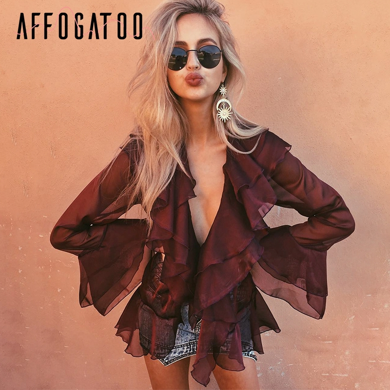 Affogatoo V neck sexy chiffon   blouse     shirt   Ruffle flare long sleeve   blouse   Casual wine red beach summer   blouse   tops female 2018