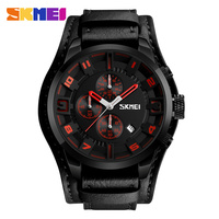 SKMEI Brand Men Casual Quartz Watches Men Fashion Leather Waterproof Wristwatches Luxury Business Male Watch Clock