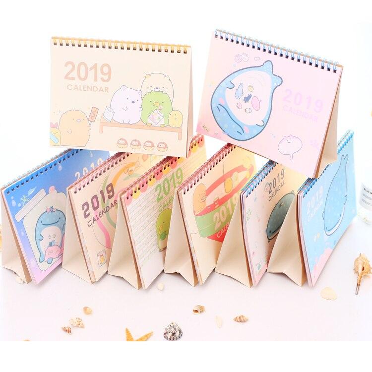2018-2019 Cute Cartoon Sumikko Gurashi Whale Standing Desk Calendar Desktop To Do List Daily Planner Book Japanese stationery 2019 table calendar weekly planner monthly plan to do list desk calendar daily rainlendar simple style desktop calendar
