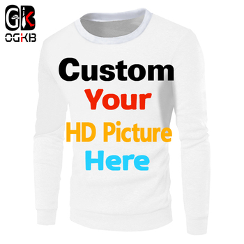 OGKB Dropshipping Customized DIY Your Own Design Printing 3d Sweatshirts Personalized Hoodies Women Hiphop Punk Crewneck Sweats