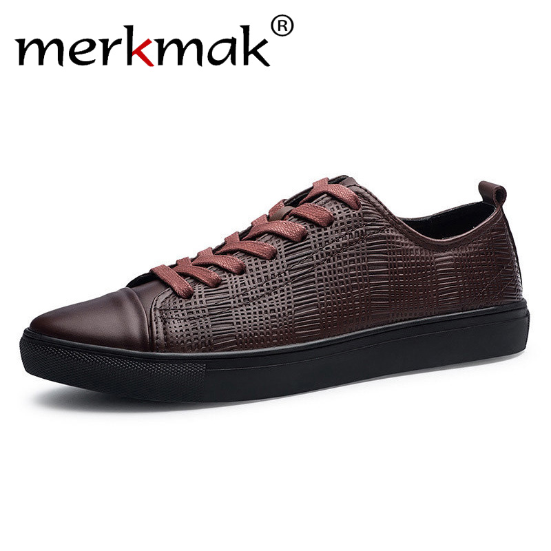 Merkmak 2018 New Fashion Men Genuine Leather Shoes Leisure Male Casual Leather Oxford Shoes Comfortable Man Soft Driving Flats merkmak spring autumn men shoes casual male genuine leather brand walking driving high quality comfortable footwear man flats