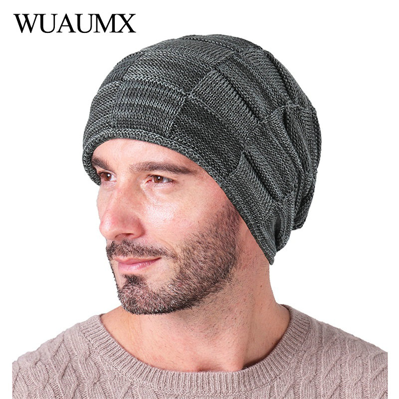 Wuaumx Brand Thicken   Beanies   Knitted Caps Wool Winter Hats For Men Lining Plus Velvet Warm   Skullies     Beanie   bonnet Drop Shipping