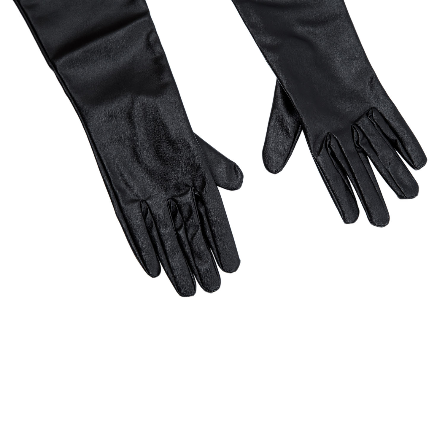 Buy ladies leather gloves online - New Women S Ladies Long Soft Artificial Leather Gloves Black