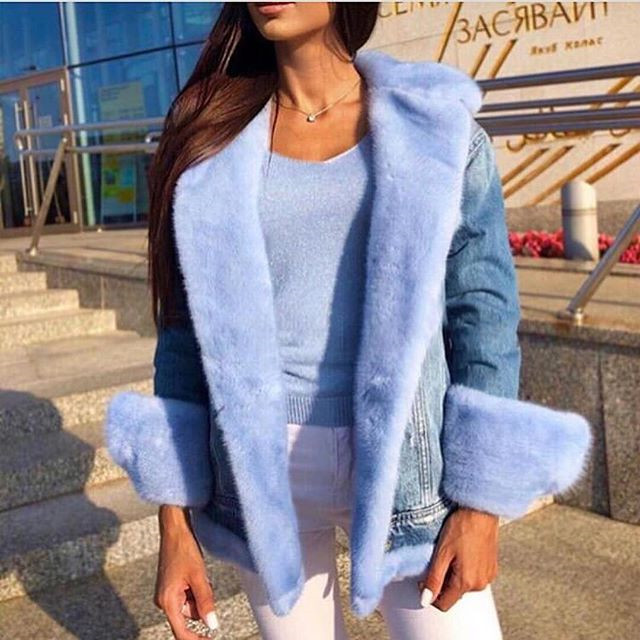 Lady Denim Down Coat With Mink Fur Collar Trimming  Duck  Feather  Parka Coat Cuffs  2018  Blue Winter  Jeans Outwear Jacket