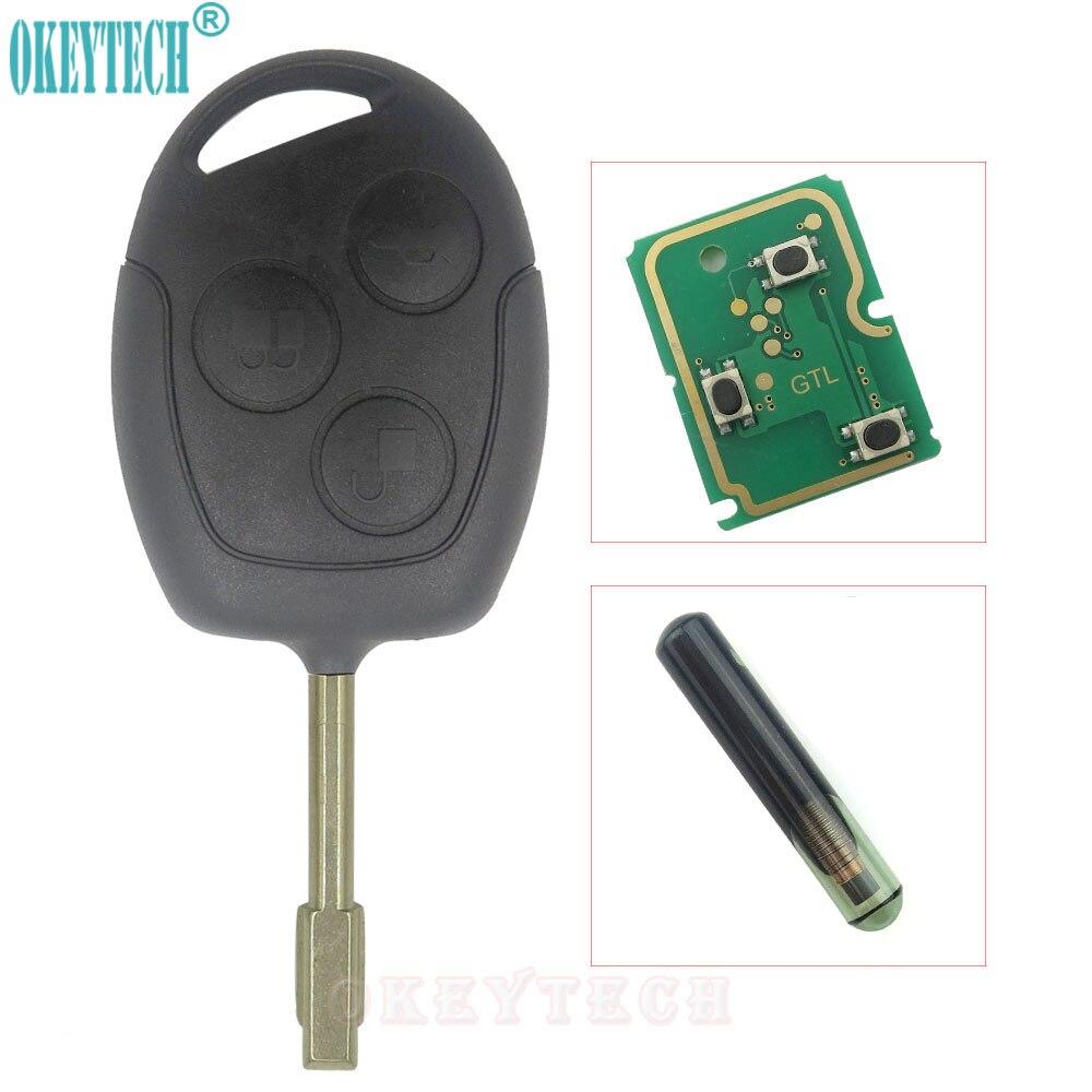 OkeyTech 3 Bouton Voiture À Distance Clé 433 MHZ D'entrée Sans Clé FOB pour FORD MONDEO FIESTA POINT KA TRANSIT K2 avec 4D60 Transpondeur puce