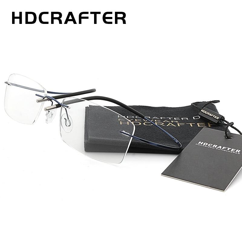 d2b8579228 HDCRAFTER Mens Lightweight Titanium Rimless Eyeglasses Frames Prescription  Optical Glasses Frame for women Frameless Frames-in Eyewear Frames from  Men s ...