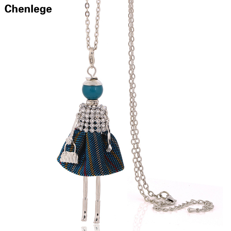 cute women's crystal doll necklaces big chokers long chain fashion statement necklaces collares necklace pendants jewelry hot