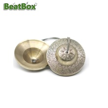 BeatBox 9CM Handcrafted Tibetan Meditation Tingsha Cymbal Bell With Propitious Cloud Symbols