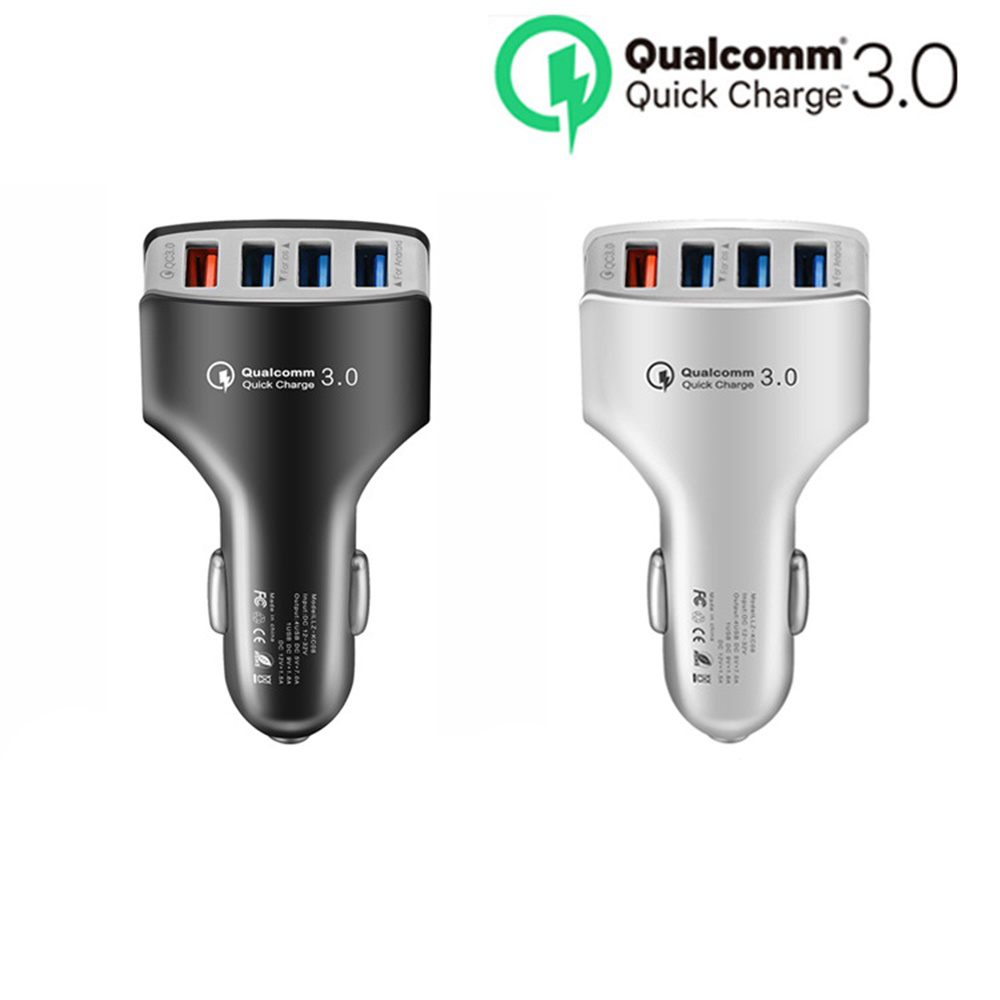 QC3.0 4 USB Car Charger Quick Charge QC 3.0 Fast Mobile Phone Charger For iPhone X 8 Samsung Xiaomi mi Redmi|Car Chargers| |  - title=