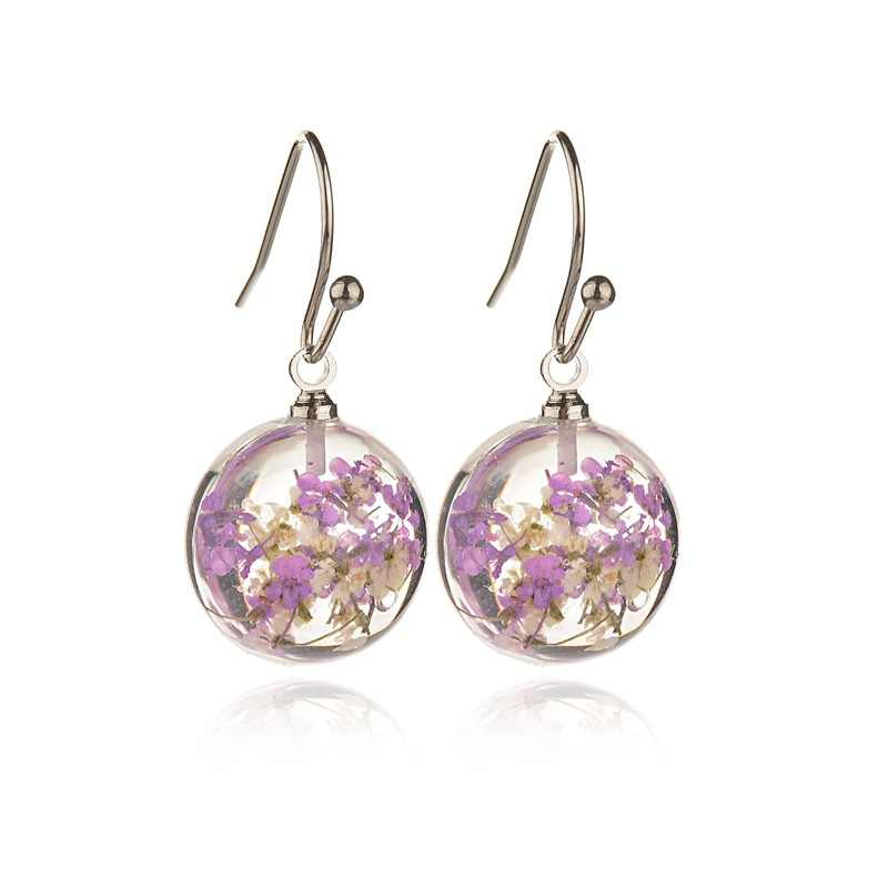 2019 New Fashion Dried Flower Glass Hemisphere Time Transparent Gem Earrings Earrings Exclusive Foreign Trade Explosion Earrings