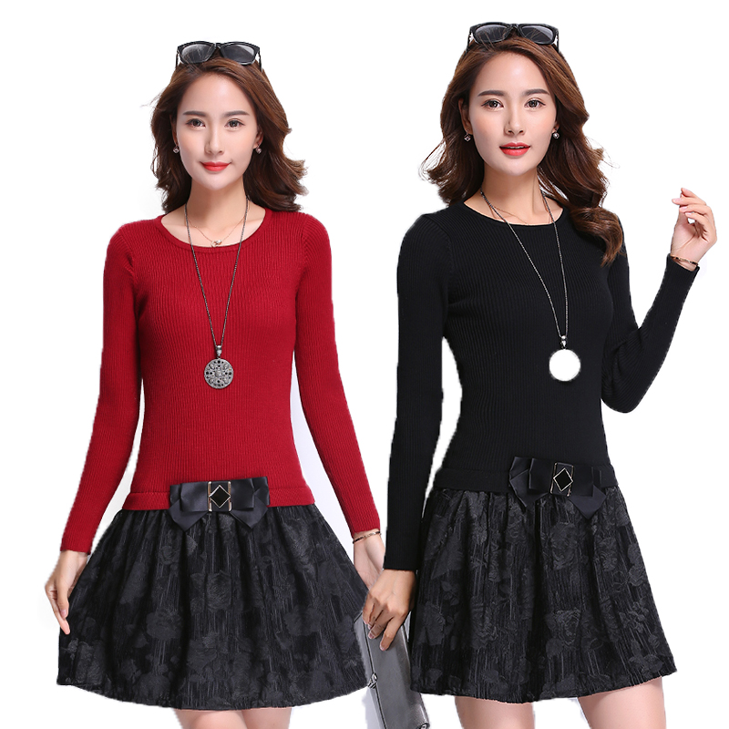 2017 autumn and winter womens dress one-piece plus size loose knitted sweater dresses pu ...