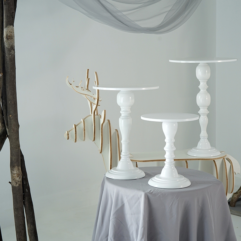 High feet cake stand candle holder 8/10/12 inch white wedding cake table decorating part suppliers for fondant dessert
