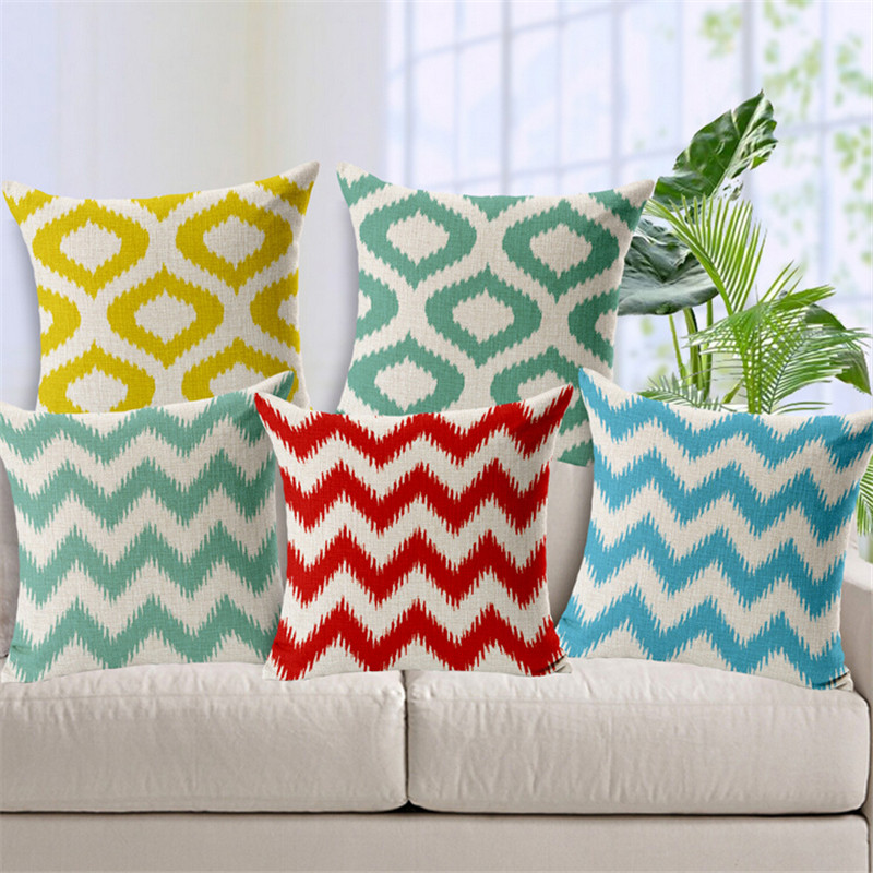 European style Geometric Round stripe wave decorative throw pillow cushion cover case For Couch Car Seat Sofa cojines 45x45cm