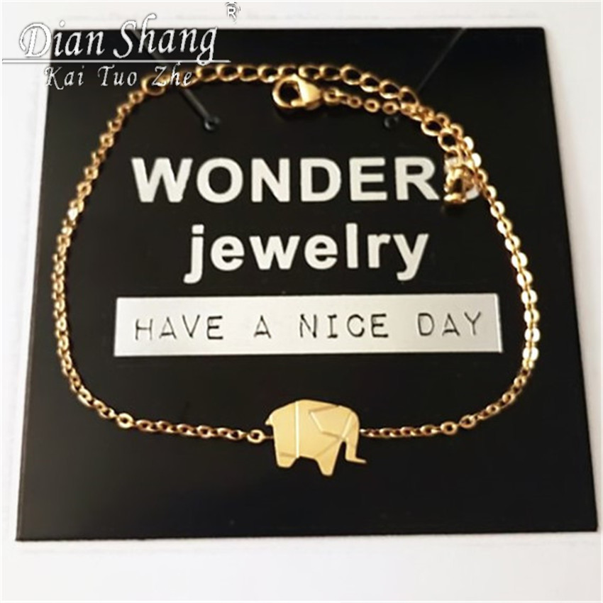 0434a5677535be 2019 Gold Color Charms Bracelet Femme Stainless Steel Women Dainty Jewelry  Lucky Origami Elephant Bracelets Friendship Gifts BFF-in Chain & Link  Bracelets ...
