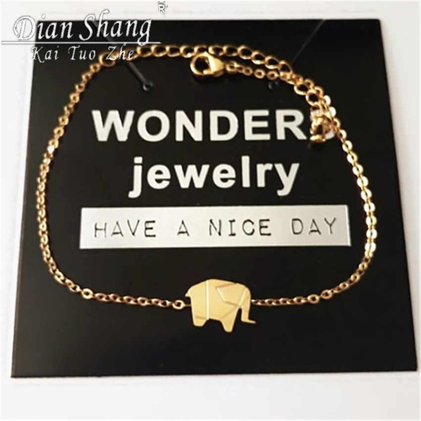 2019 or couleur bracelet à breloques Femme acier inoxydable femmes bijoux délicats chanceux Origami éléphant Bracelets amitié cadeaux BFF