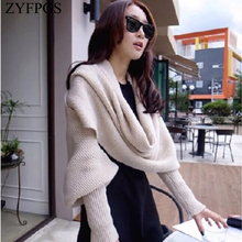 ZYFPGS 2019 Autumn Top Sweater For Women Raglan sleeves Useful High Quality Wool Solid Color Female Scarf sweater Fashion Z1021