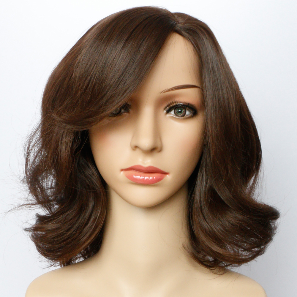 Soloowigs Wavy Dark Brown Synthetic Wigs with Tilted Frisette 14inch Medium Length Full Lace Hairpieces Pelucas