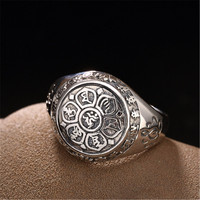 BESTLYBUY Vintage 100% Real 925 Sterling Silver Jewelry Buddhistic Six Words' Mantra Rings for Women Men Free Shipping