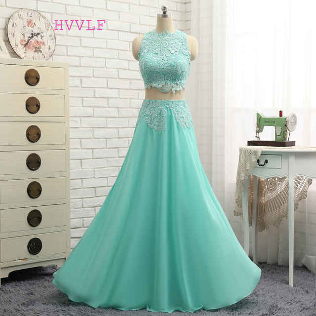 New Mint Green 2018 Prom Dresses A Line High Collar Chiffon Lace Two Pieces Long