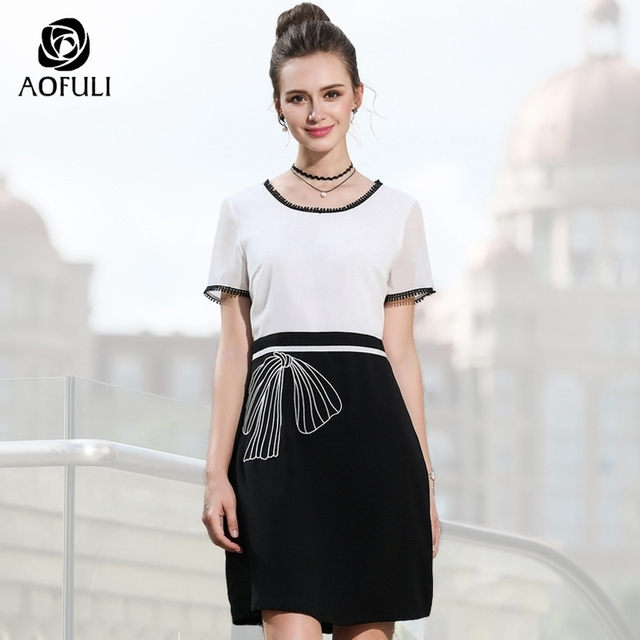 4455808b73c AOFULI L- XXXL 4XL 5XL Elegant Black White Dress Women Summer Patchwork Dress  Short Sleeves Plus Size Lady Office Wear A3524