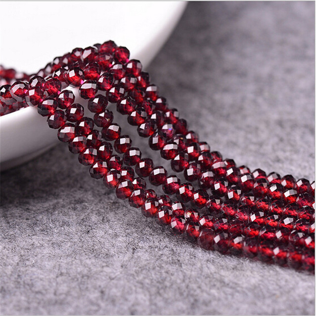 Zenper Mini. 4A natural Red Garnet Color Jade Rondelle abacus bead stone DIY Jewelry Making Loose Beads 3 sizes MX33