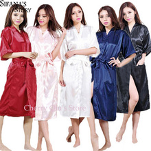 Women Silk Satin Long Wedding Bride Bridesmaid Robe Kimono Robe Feminino Bath Robe Large Size XXXL Peignoir Femme Sexy Bathrobe(China)