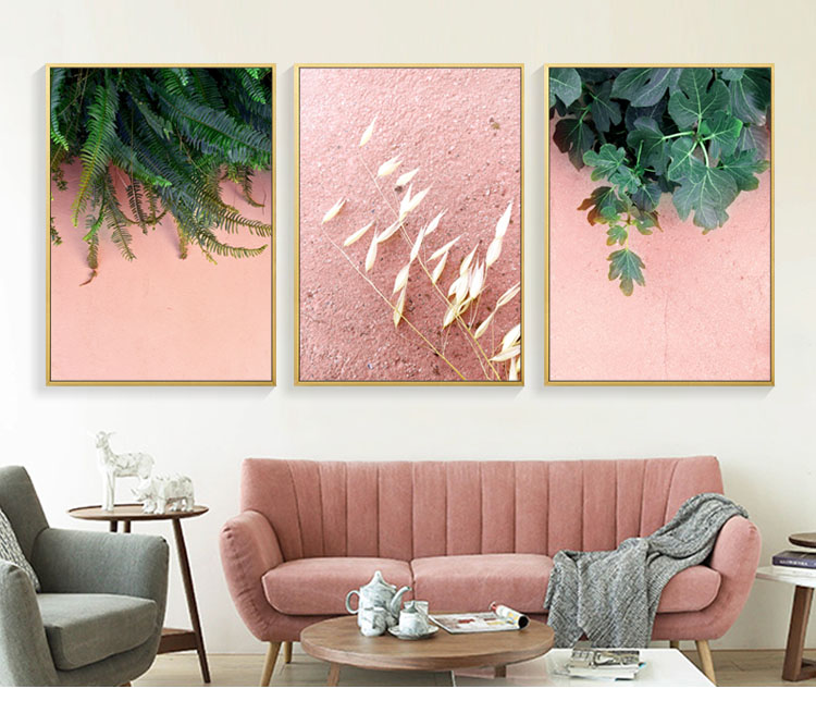 Modern Abstract Minimalistic Pink leaf Art Canvas Prints Prints ...