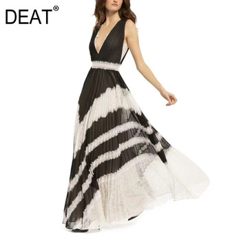 DEAT 2020 new summer and autumn beach vacation female vestido V-neck sleeveless pleated high waist long dress WH62801L
