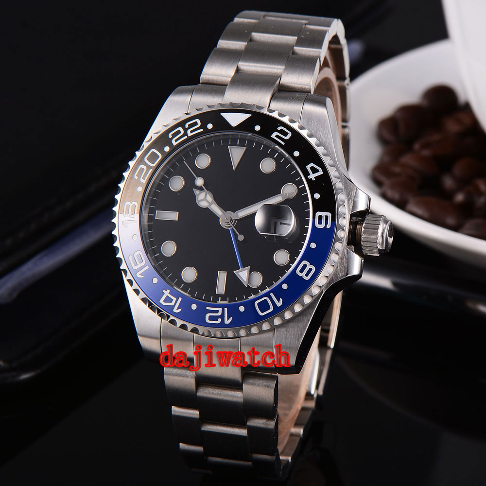 parnis 43mm black dial stainless steel case Sapphire glass calendar GMT mechanical automatic watch men Dual time zone цена 2017