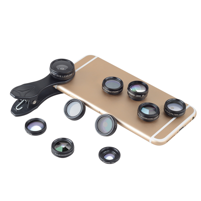 APEXEL 10 in 1 Phone camera Lens Kit Fisheye Wide Angle macro Lens CPL Filter Kaleidoscope and 2X telescope Lens for smartphone 1