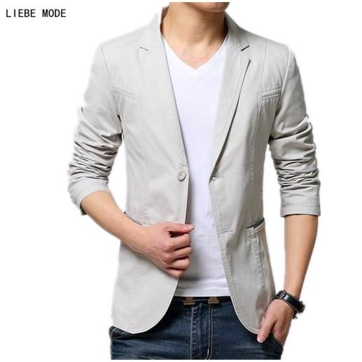 58dc6a9e9c5 2019 New Men Business Casual Blazer Black Beige Khaki Mens Cotton Suit  Jacket Slim fit Blazer Men