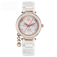 Новый Керамика часы Для женщин кварцевые часы Дамская мода смотреть лучшие бренды Роскошные Водонепроницаемый часы студентка часы браслет