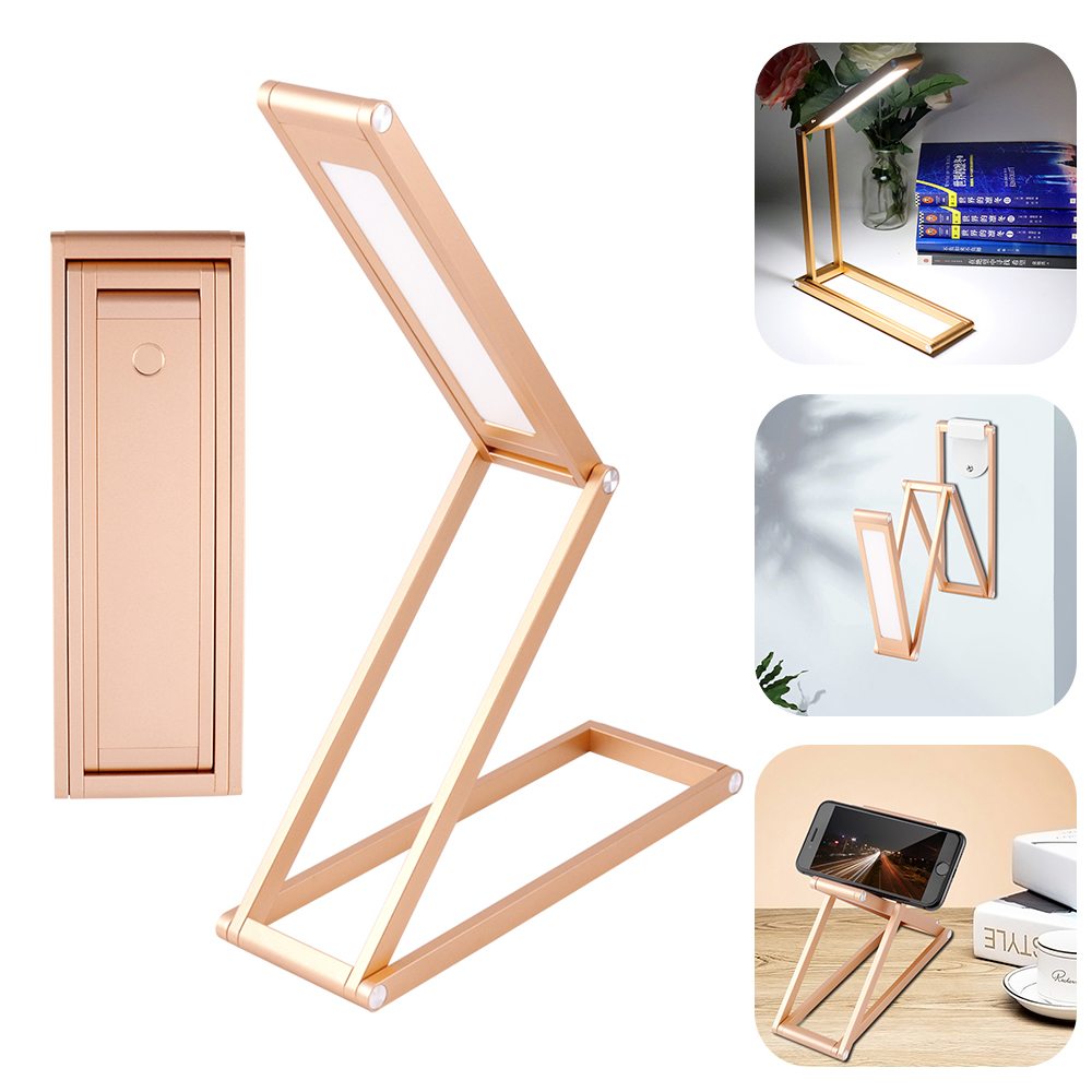 Fashion Gold Aluminum Alloy Foldable LED Desk Table Lamp Dimmable Eye Protection Reading Lamp USB Rechargeable Desktop Light