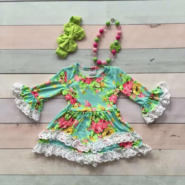 Los bebés de los niños ropa de otoño invierno de algodón de seda de la leche blanca floral de las colmenas vestido de boutique flare manga arco a juego y collar