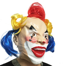 Halloween Adult Latex Full Face Funny Joker Clown Mask For Cosplay Masquerade Festival Party Supplies